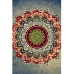 Folk Art Lotus Mandala Dirty Blue Red 5 5  X 8 5  Notebooks