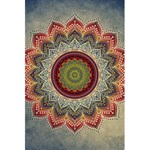 Folk Art Lotus Mandala Dirty Blue Red 5.5  x 8.5  Notebooks Front Cover Inside