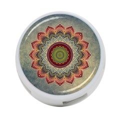 Folk Art Lotus Mandala Dirty Blue Red 4 Port Usb Hub (two Sides)  by EDDArt