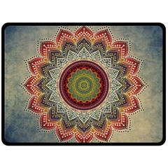 Folk Art Lotus Mandala Dirty Blue Red Fleece Blanket (large)  by EDDArt