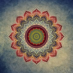 Folk Art Lotus Mandala Dirty Blue Red Magic Photo Cubes by EDDArt