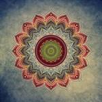 Folk Art Lotus Mandala Dirty Blue Red Magic Photo Cubes Side 1