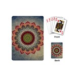 Folk Art Lotus Mandala Dirty Blue Red Playing Cards (Mini)  Back