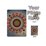 Folk Art Lotus Mandala Dirty Blue Red Playing Cards 54 (Mini)  Front - Spade4