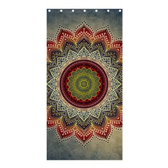 Folk Art Lotus Mandala Dirty Blue Red Shower Curtain 36  X 72  (stall)