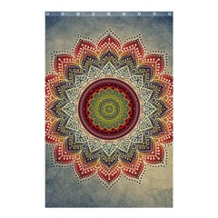 Folk Art Lotus Mandala Dirty Blue Red Shower Curtain 48  X 72  (small)  by EDDArt