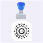 Folk Art Lotus Mandala Dirty Blue Red Rubber Round Stamps (Medium) 1.5 x1.5  Stamp