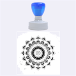 Folk Art Lotus Mandala Dirty Blue Red Rubber Round Stamps (Large) 1.875 x1.875  Stamp