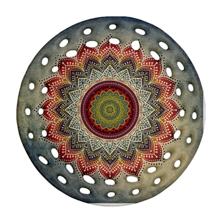 Folk Art Lotus Mandala Dirty Blue Red Round Filigree Ornament (2Side)