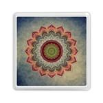 Folk Art Lotus Mandala Dirty Blue Red Memory Card Reader (Square)