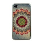 Folk Art Lotus Mandala Dirty Blue Red Apple iPhone 4 Case (Clear) Front