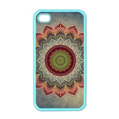 Folk Art Lotus Mandala Dirty Blue Red Apple Iphone 4 Case (color) by EDDArt
