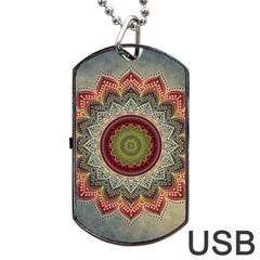 Folk Art Lotus Mandala Dirty Blue Red Dog Tag Usb Flash (one Side) by EDDArt