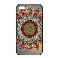 Folk Art Lotus Mandala Dirty Blue Red Apple Iphone 4/4s Seamless Case (black) by EDDArt