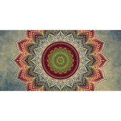 Folk Art Lotus Mandala Dirty Blue Red You Are Invited 3d Greeting Card (8x4) by EDDArt