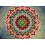 Folk Art Lotus Mandala Dirty Blue Red HOPE 3D Greeting Card (7x5) Front