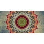Folk Art Lotus Mandala Dirty Blue Red Congrats Graduate 3D Greeting Card (8x4) Front