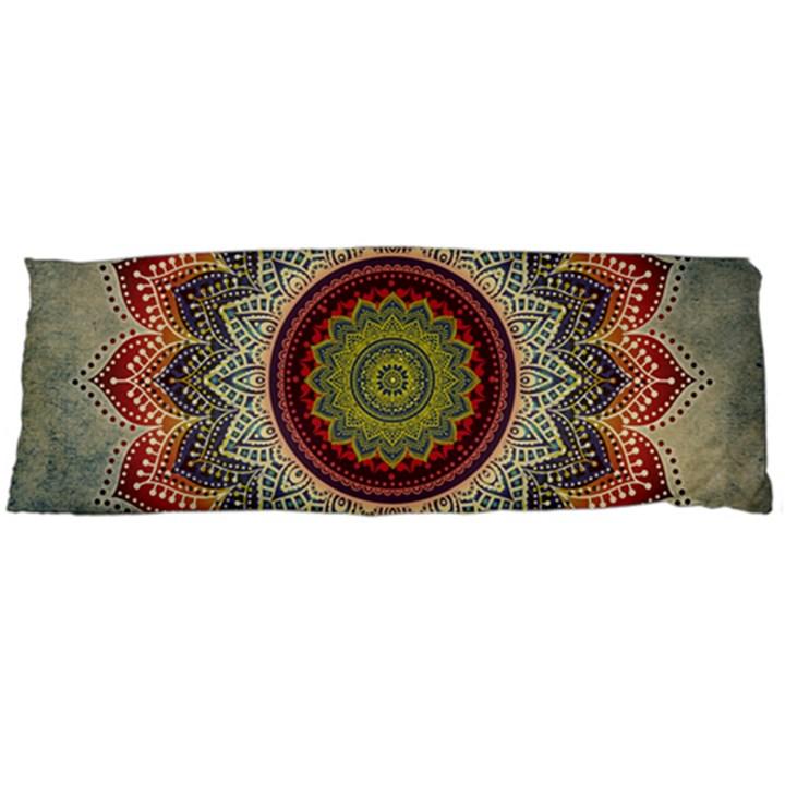 Folk Art Lotus Mandala Dirty Blue Red Body Pillow Case (Dakimakura)