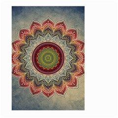 Folk Art Lotus Mandala Dirty Blue Red Large Garden Flag (two Sides) by EDDArt