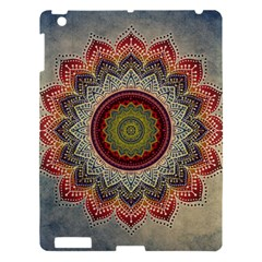 Folk Art Lotus Mandala Dirty Blue Red Apple Ipad 3/4 Hardshell Case by EDDArt