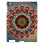 Folk Art Lotus Mandala Dirty Blue Red Apple iPad 3/4 Hardshell Case
