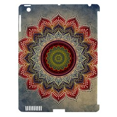 Folk Art Lotus Mandala Dirty Blue Red Apple Ipad 3/4 Hardshell Case (compatible With Smart Cover) by EDDArt