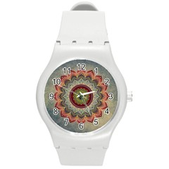 Folk Art Lotus Mandala Dirty Blue Red Round Plastic Sport Watch (m) by EDDArt
