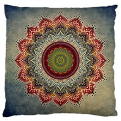 Folk Art Lotus Mandala Dirty Blue Red Large Cushion Case (one Side) by EDDArt