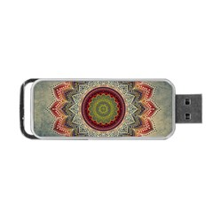 Folk Art Lotus Mandala Dirty Blue Red Portable Usb Flash (two Sides) by EDDArt
