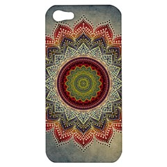 Folk Art Lotus Mandala Dirty Blue Red Apple Iphone 5 Hardshell Case