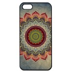 Folk Art Lotus Mandala Dirty Blue Red Apple iPhone 5 Seamless Case (Black) Front