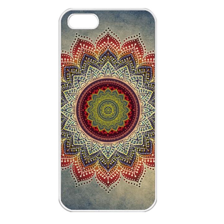 Folk Art Lotus Mandala Dirty Blue Red Apple iPhone 5 Seamless Case (White)