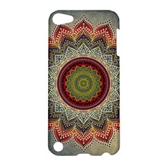 Folk Art Lotus Mandala Dirty Blue Red Apple Ipod Touch 5 Hardshell Case by EDDArt