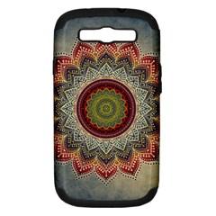 Folk Art Lotus Mandala Dirty Blue Red Samsung Galaxy S Iii Hardshell Case (pc+silicone) by EDDArt