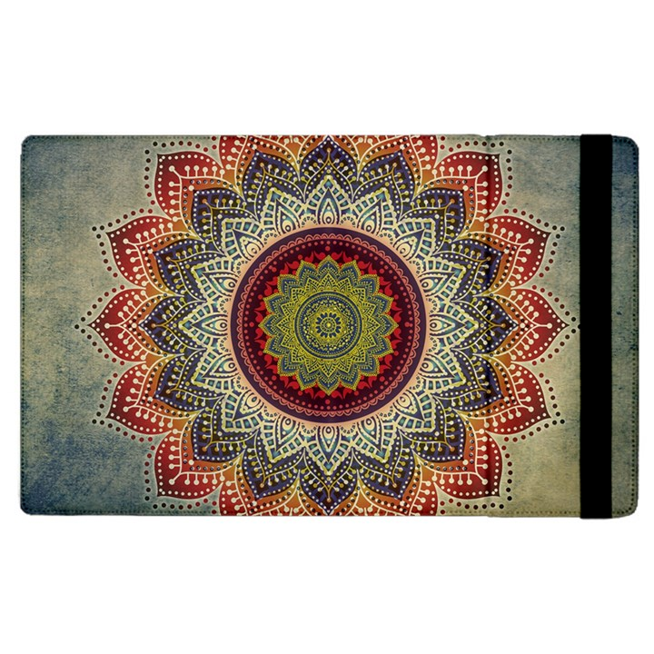 Folk Art Lotus Mandala Dirty Blue Red Apple iPad 3/4 Flip Case
