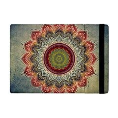 Folk Art Lotus Mandala Dirty Blue Red Apple Ipad Mini Flip Case