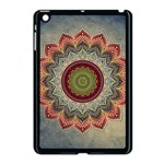 Folk Art Lotus Mandala Dirty Blue Red Apple iPad Mini Case (Black) Front