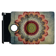 Folk Art Lotus Mandala Dirty Blue Red Apple Ipad 3/4 Flip 360 Case by EDDArt