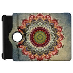Folk Art Lotus Mandala Dirty Blue Red Kindle Fire Hd Flip 360 Case by EDDArt