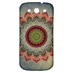 Folk Art Lotus Mandala Dirty Blue Red Samsung Galaxy S3 S Iii Classic Hardshell Back Case