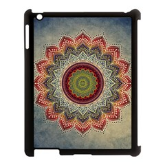 Folk Art Lotus Mandala Dirty Blue Red Apple Ipad 3/4 Case (black) by EDDArt