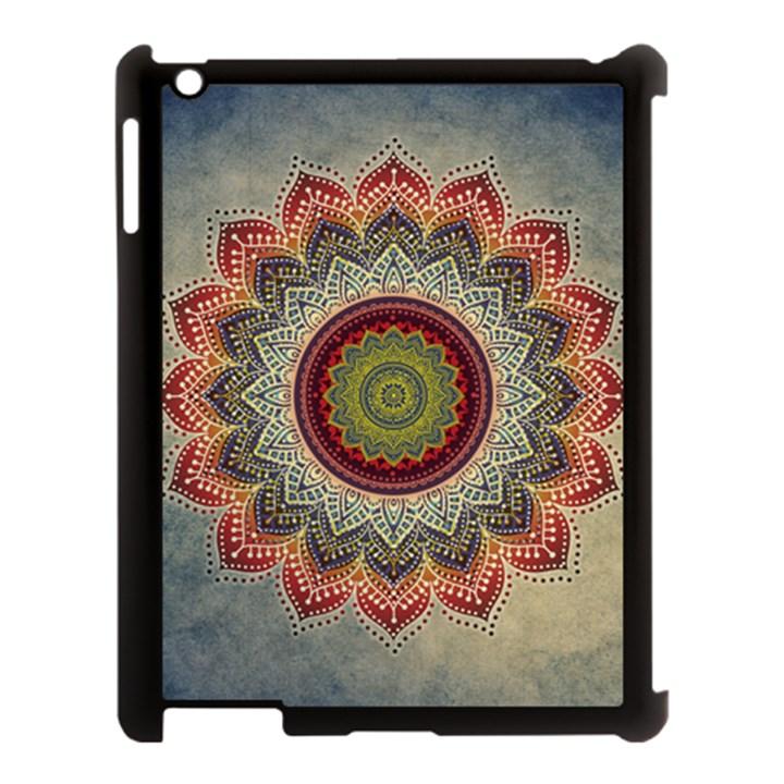 Folk Art Lotus Mandala Dirty Blue Red Apple iPad 3/4 Case (Black)