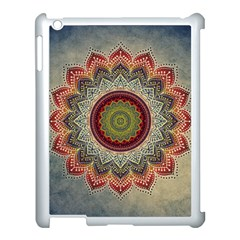Folk Art Lotus Mandala Dirty Blue Red Apple Ipad 3/4 Case (white) by EDDArt