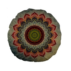 Folk Art Lotus Mandala Dirty Blue Red Standard 15  Premium Round Cushions