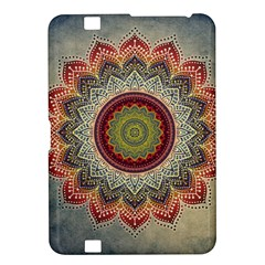 Folk Art Lotus Mandala Dirty Blue Red Kindle Fire Hd 8 9  by EDDArt