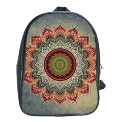 Folk Art Lotus Mandala Dirty Blue Red School Bags (xl)  by EDDArt