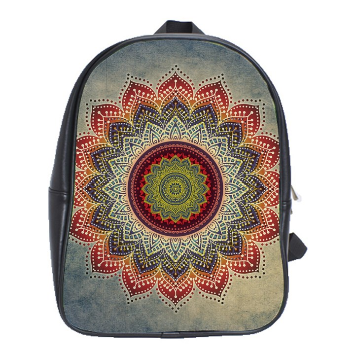Folk Art Lotus Mandala Dirty Blue Red School Bags (XL)