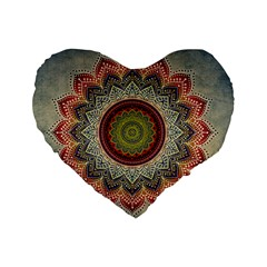 Folk Art Lotus Mandala Dirty Blue Red Standard 16  Premium Heart Shape Cushions by EDDArt