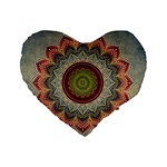 Folk Art Lotus Mandala Dirty Blue Red Standard 16  Premium Heart Shape Cushions Front