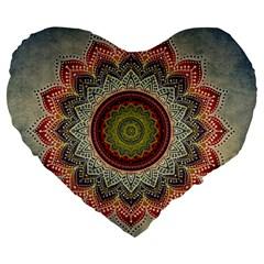 Folk Art Lotus Mandala Dirty Blue Red Large 19  Premium Heart Shape Cushions